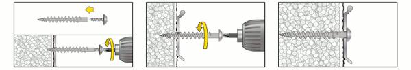 Isolierplattenschraubdübel IPSD80 Montage mit Spenglerschraube