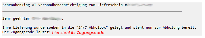 Email mit Zugangscode