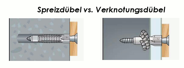 Spreizdübel versus Verknotungsdübel