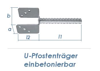 91mm U-Pfostenträger einbetonierbar (1 Stk.)
