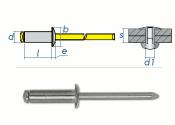 3 x 8mm Blindniete Alu/Stahl DIN7337 (100 Stk.)