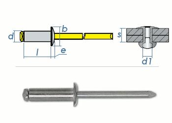 4 x 6mm Blindniete Alu/Stahl DIN7337 (100 Stk.)