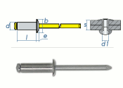 4 x 8mm Blindniete Alu/Stahl DIN7337 (100 Stk.)