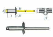 5 x 14mm Blindniete Alu/Stahl m. großem Kopf (10 Stk.)