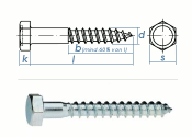 6 x 60mm Sechskant-Holzschrauben DIN 571  Verzinkt (10 Stk.)