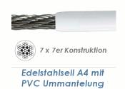 3/5mm 7x7-Drahtseil Edelstahl A4 mit PVC Mantelung (je 1...