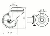 50 x 19mm Lenkrolle Gummi ohne Feststeller mit Rückenloch (1 Stk.)