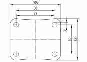 125 x 37mm Lenkrolle Vollgummi ohne Feststeller mit Anschraubplatte (1 Stk.)