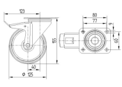 125 x 37mm Lenkrolle Vollgummi mit Feststeller und Anschraubplatte (1 Stk.)