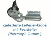 50 x 18mm Leiterlenkrolle gefedert mit Feststeller (1 Stk.)
