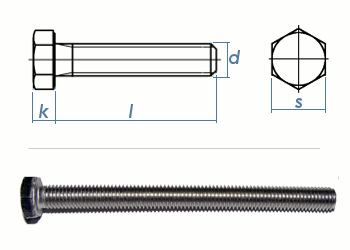 M8 x 70mm Sechskantschrauben DIN933 Vollgewinde Edelstahl A2 (1 Stk.)