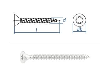 3 x 30mm Spanplattenschrauben Torx Stahl verzinkt Vollgew.  (100 Stk.)