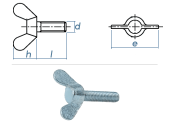 M6 x 20mm Flügelschrauben DIN316 Stahl verzinkt (1...