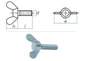 M8 x 25mm Flügelschrauben DIN316 Stahl verzinkt (1...