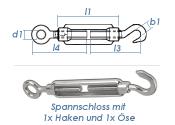 M5 Spannschloss mit 1 Ösen & 1 Haken Edelstahl...