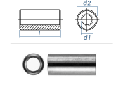 M12 x 40mm Gewindemuffe rund Edelstahl A2 (1 Stk.)