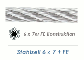 3mm 6x7+ FE Drahtseil DIN3055 Stahl verzinkt (je 1 lfm)
