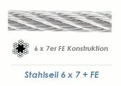 6mm 6x7+ FE Drahtseil DIN3055 Stahl verzinkt (je 1 lfm)