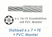 2/3mm 6x7+ FE Drahtseil DIN3055 Stahl verzinkt mit PVC Mantelung  (je 1 lfm)