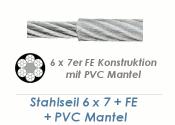 6/8mm 6x7+ FE Drahtseil DIN3055 Stahl verzinkt mit PVC Mantelung  (je 1 lfm)