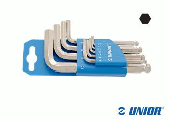 SW1,5 - 10 UNIOR Sechskant Stiftschlüsselset 9-teilig mit Kugelkopf vernickelt (1 Stk.)
