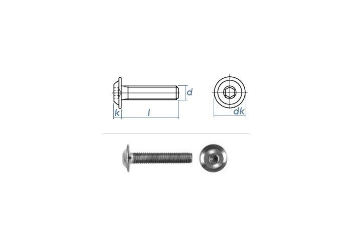Gewindeschrauben Edelstahl A2 V2A rostfrei Eisenwaren2000 - ISO 7380 Linsenkopf Schrauben mit Flachkopf und Bund 20 St/ück M10 x 22 mm Linsenkopfschrauben mit Innensechskant und Flansch