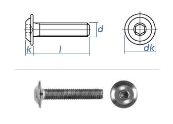 M10 x 20mm Linsenflachkopfschraube m. Flansch ISK ISO7380-2 Edelstahl A2 (1 Stk.)