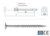 6 x 60mm Holzbauschrauben Tellerkopf TX verzinkt (10 Stk.)