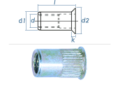 M8 x 10,9 x 15,5mm Blindnietmutter Mini-Senkkopf Stahl...