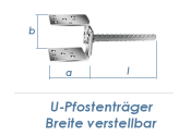 60-140mm U-Pfostenträger Breite verstellbar einbetonierbar (1 Stk.)