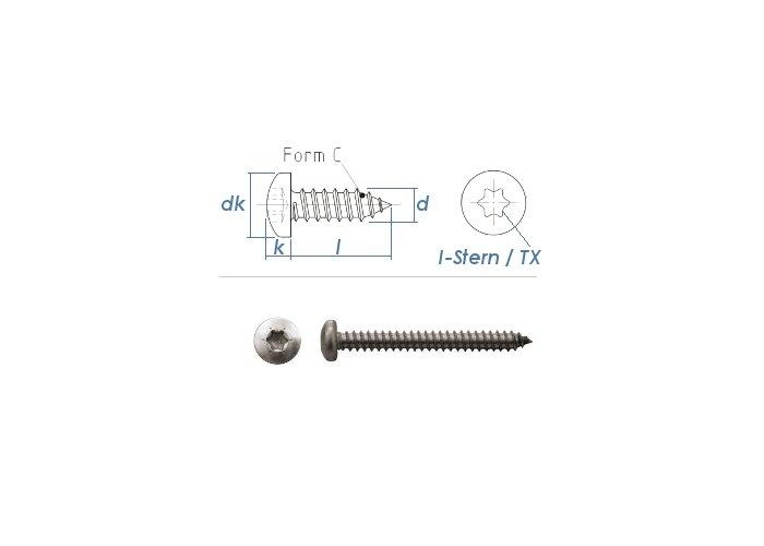 verzinkt Form C-H 6,3 x 25-100 St/ück Linsen-Blechschraube DIN 7981 Stahl galv
