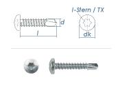 4,8 x 22mm Bohrschrauben Linsenkopf TX DIN7504 Stahl...