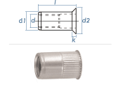 M3 x 4,8 x 9mm Blindnietmutter Mini-Senkkopf Edelstahl A2 (10 Stk.)