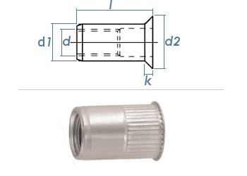 M8 x 10,9 x 15,5mm Blindnietmutter Mini-Senkkopf Edelstahl A2 (10 Stk.)
