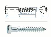 12 x 70mm Sechskant-Holzschrauben DIN 571  Verzinkt (1 Stk.)
