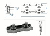 4mm Duplex Seilklemmen Edelstahl A4 (1 Stk.)
