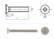 M2 x 8mm Senkschrauben TX ISO14581 Edelstahl A2  (100 Stk.)