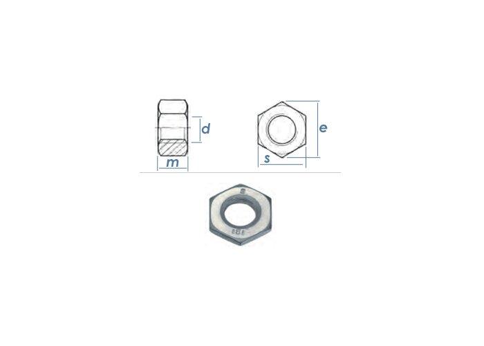 5 Stk DIN 934 Sechskantmutter Stahl Festigkeit 8