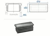 80 x 40mm / WS:1-3mm Lamellenstopfen rechteckig PE...