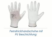 Feinstrickhandschuhe PU weiss Gr. 9 (L)  (1 Stk.)