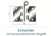 90 x 90mm Scharnier lose mit Ringstift verzinkt  (1 Stk.)