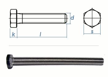 M10 x 50mm Sechskantschrauben DIN933 Vollgewinde Edelstahl A2 (1 Stk.)
