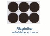16mm Filzgleiter braun selbstklebend  (1 Karte zu 50 Stk.)