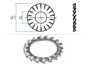 5,3mm Fächerscheiben Form AZ DIN6798 Stahl verzinkt (100 Stk.)
