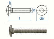 M8 x 65mm Torbandschrauben DIN603 Edelstahl A2 (1 Stk.)