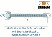 7,5 x 60mm MMS-plus Schraubanker mit Sechskantkopf mit angepresster Scheibe (1 Stk.)