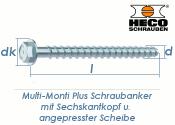 10 x 60mm MMS-plus Schraubanker mit Sechskantkopf mit...