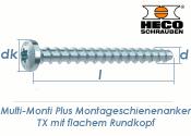 7,5 x 50mm MMS-plus Montageschienenanker TX mit flachem Rundkopf (1 Stk.)
