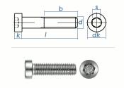 M8 x 12mm Zylinderschraube DIN7984 Edelstahl A2  (10 Stk.)